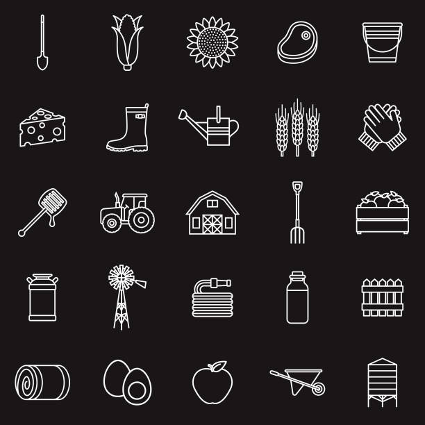 agriculture thin line outline icon set - clip art of a black and white barn stock illustrations, clip art, cartoons, & icons