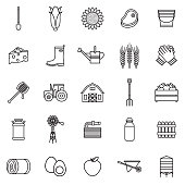 Agriculture Thin Line Outline Icon Set