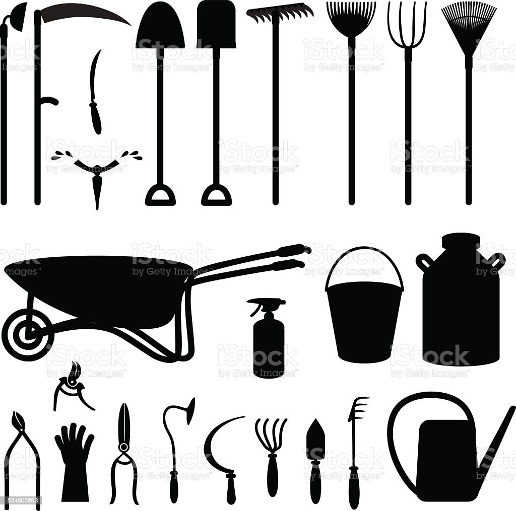 Agriculture tools vector art illustration