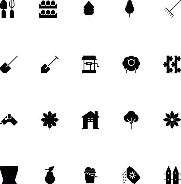 landwirtschaft-vektor-icons und 4 - lärchenzaun stock-grafiken, -clipart, -cartoons und -symbole