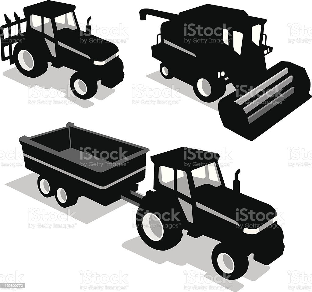 agriculture vehicle set royalty-free stock vector art