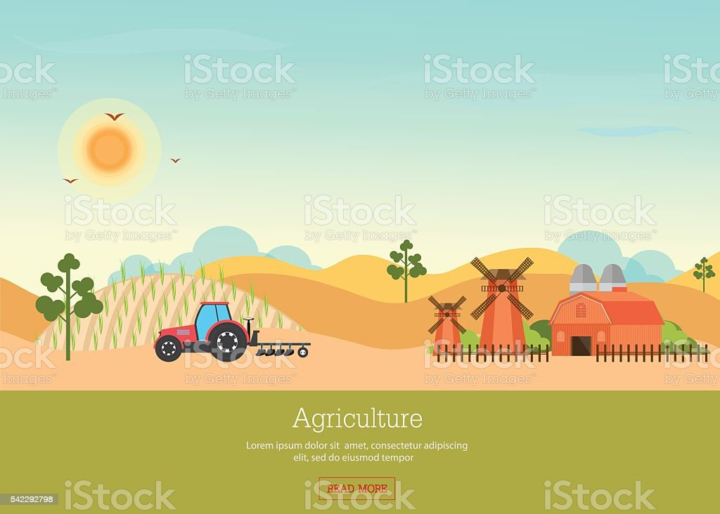 Agriculture with Organic products and farmhouse. vector art illustration