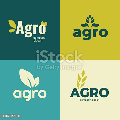 Set of signs for Agriculture company,farming icons with slogan. Vector illustrations with Agro and leaves. Identity for Agricultural business. Design elements for banners, branding, advert, emblem, label