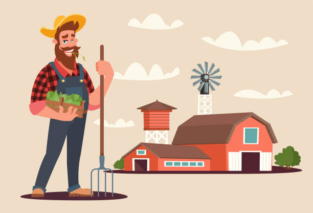 Agronomist at work flat vector illustration Agronomist at work flat vector illustration. Bearded farmer with spading fork and box of sprouts cartoon character. Male villager standing near barnhouse and water tower. Farm workers duties concept farmer stock illustrations