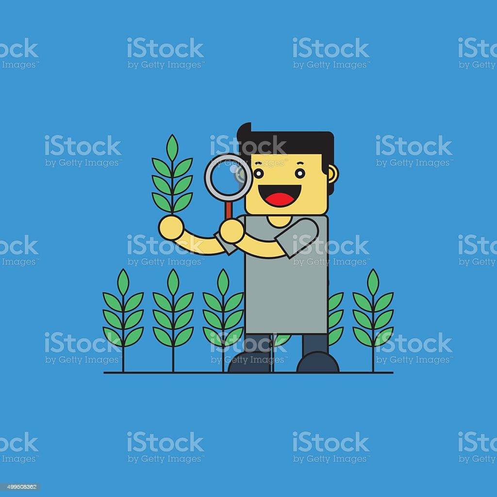 Agrónomo verificar el arroz. - ilustración de arte vectorial