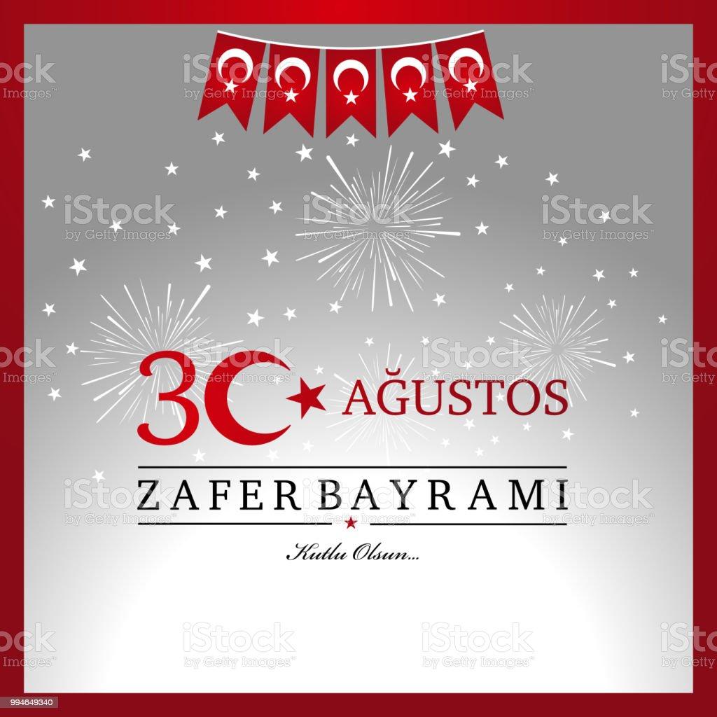 30 Agustos Zafer Bayrami. Übersetzung aus dem türkischen: 30 August Feier des Sieges und der Nationalfeiertag in der Türkei. – Vektorgrafik