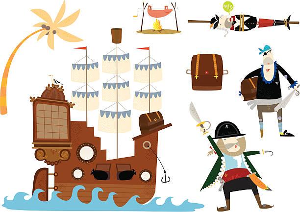ahoy piraten! - schweinebraten stock-grafiken, -clipart, -cartoons und -symbole