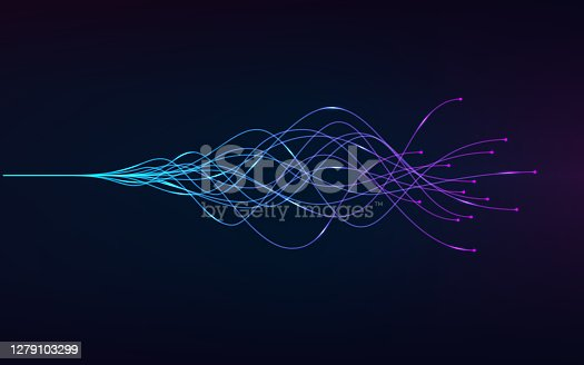 istock ai - artificial intelligence and deep learning concept of neural networks. Wave equalizer. Blue and purple lines. Vector illustration 1279103299