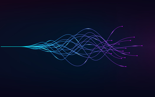 ai - artificial intelligence and deep learning concept of neural networks. Wave equalizer. Blue and purple lines. Vector illustration