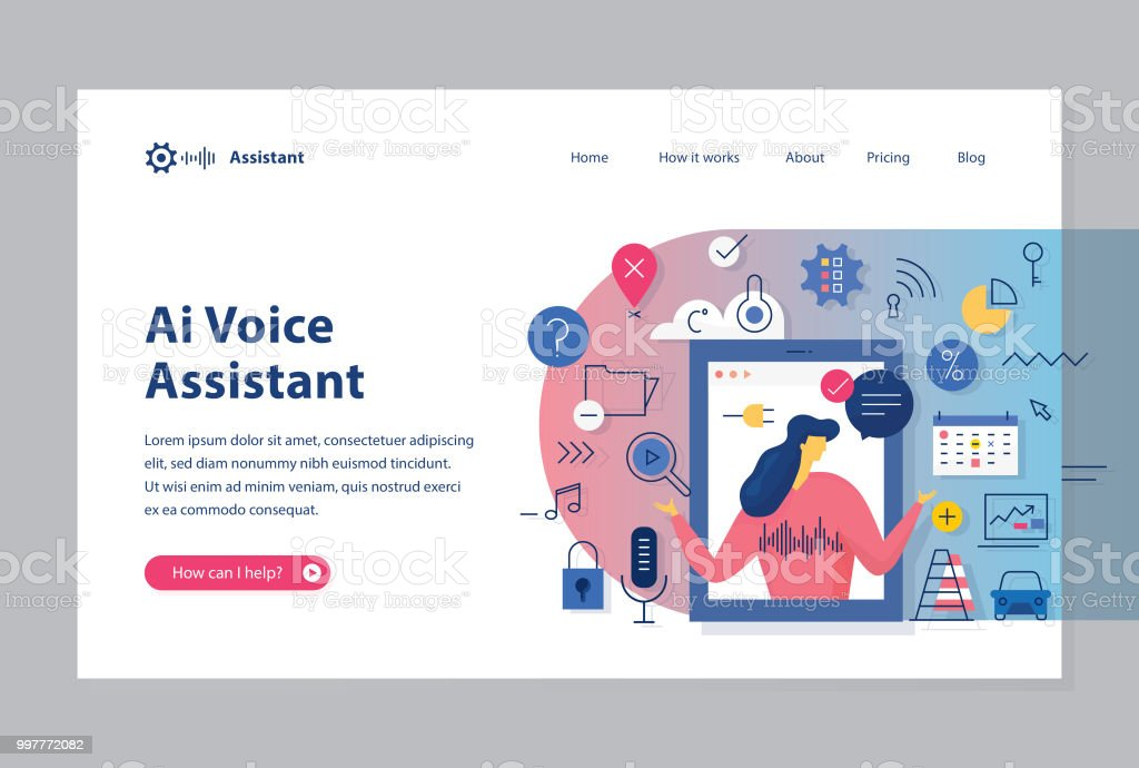 Ai Assistant Website Template Circular Illustration Stock
