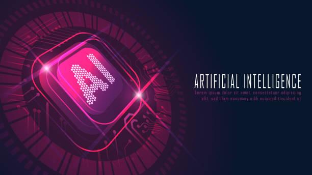 Ai-Chipsatz auf Leiterplatte in futuristischem Konzept – Vektorgrafik