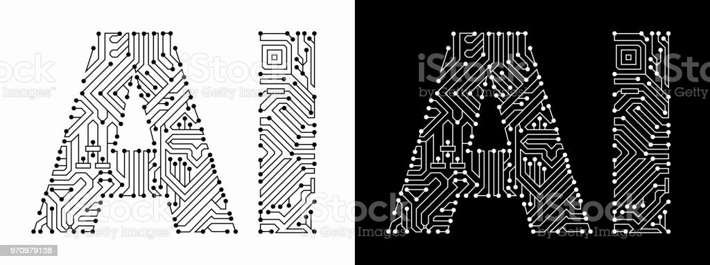 Ai in Black And White Circuit Board Font vector art illustration