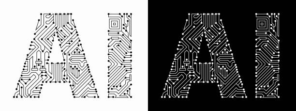 ai in black and white circuit board font - sztuczna inteligencja stock illustrations