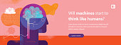 Web banner template depicting artificial intelligence concept including illustration, button, copy space text and some hand drawn elements.