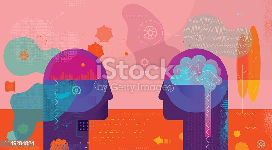 Vibrant vector illustration depicting Ai vs natural intelligence confrontation. Next to vector elements there are some hand drawn elements included.