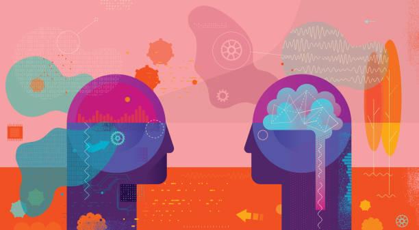 Ai Vs Natural Intelligence Confrontation – Vektorgrafik