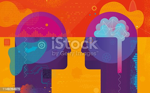 Vibrant vector illustration depicting Ai vs natural intelligence concept. Next to vector elements there are some hand drawn elements included.