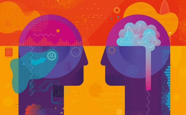 Ai Vs Natürliche Intelligenz – Vektorgrafik