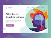 Trendy website template depicting artificial intelligence and machine learning concept including illustration, button, copy space text and some hand drawn elements.