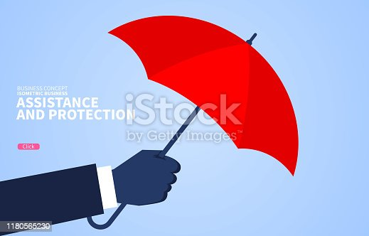 istock Aid and protection, huge hand holding a red umbrella 1180565230