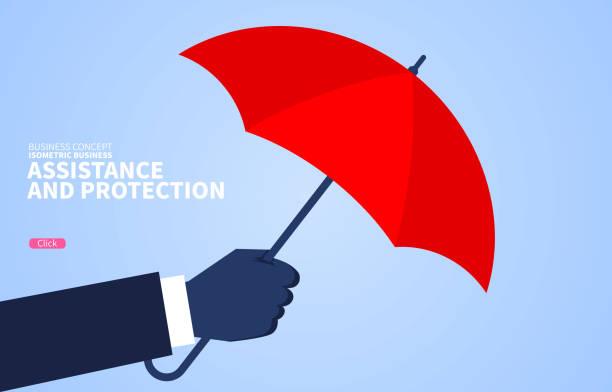 Hilfe und Schutz, riesige Hand mit rotem Regenschirm – Vektorgrafik