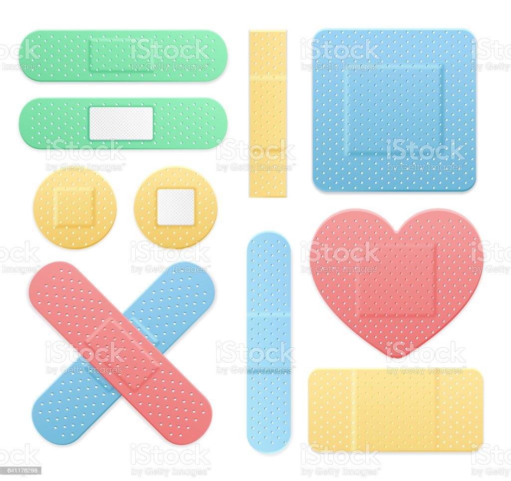aide bande plâtre médical patch jeu de couleurs vector – cliparts