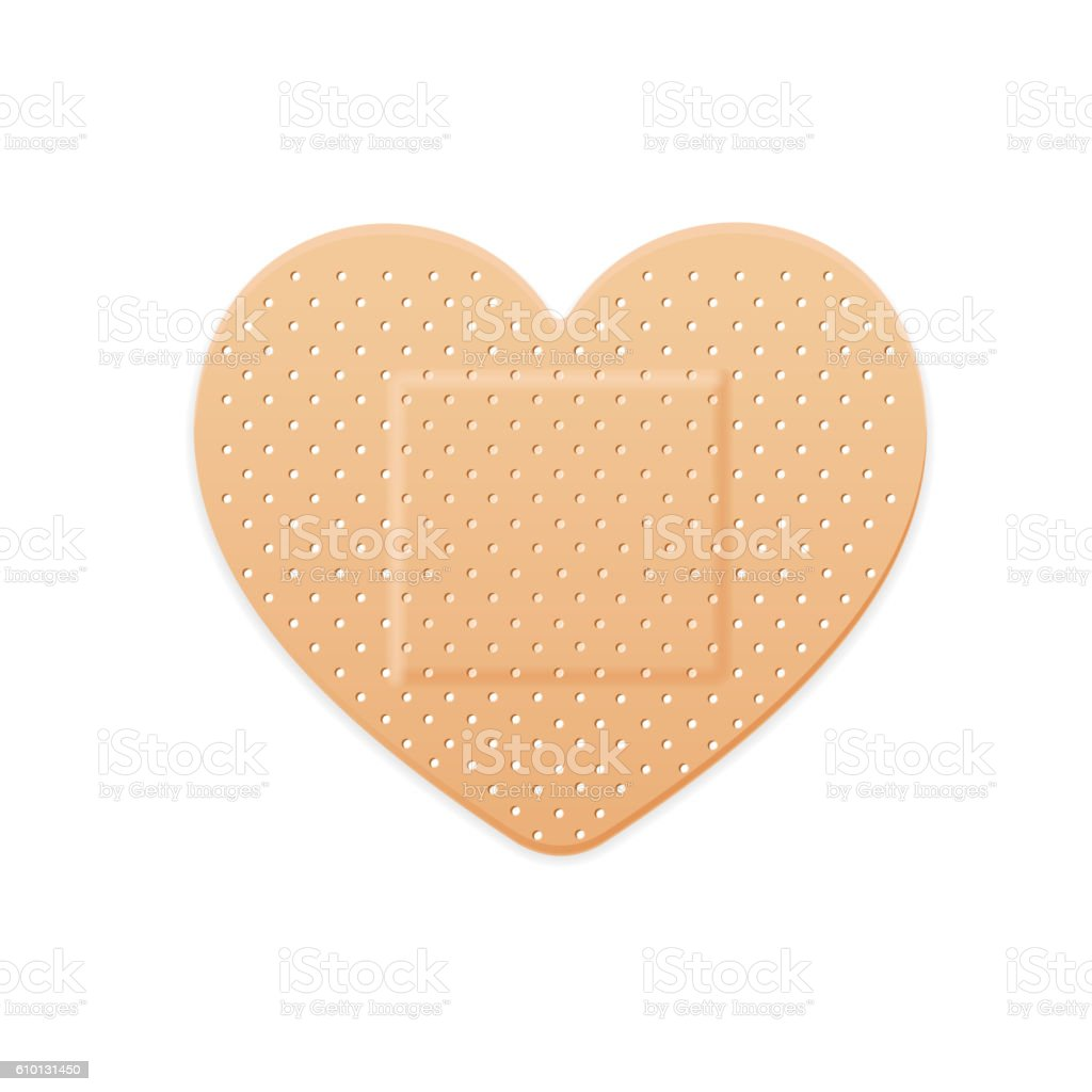 Aid Band Plaster Strip Medical Patch Heart. Vector vector art illustration
