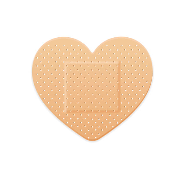 aid band plaster strip medical patch heart. vector - pflaster stock-grafiken, -clipart, -cartoons und -symbole