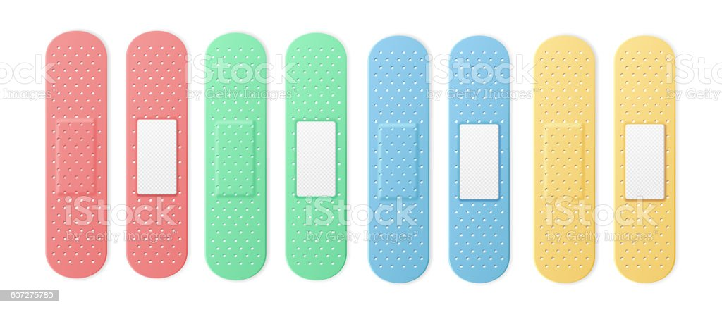 Aid Band Plaster Strip Medical Patch Set Color. Vector vector art illustration