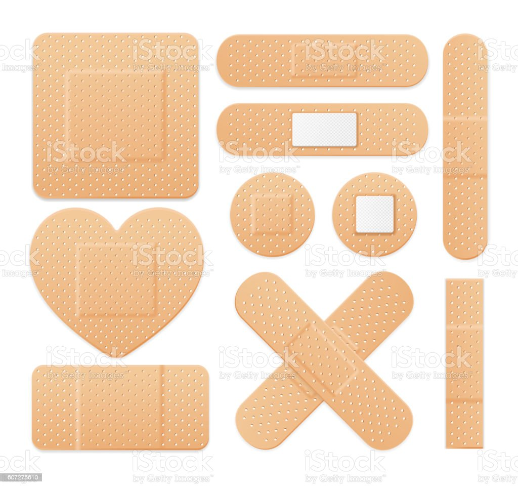 Aid Band Plaster Strip Medical Patch Set. Vector vector art illustration