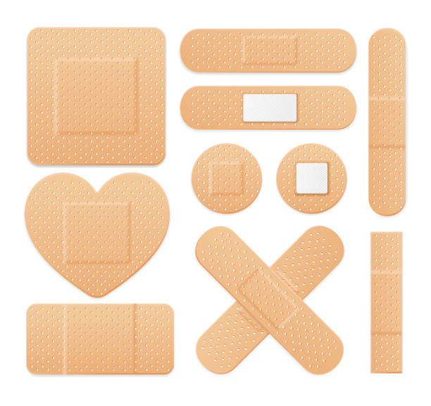 aid band plaster strip medical patch set. vector - pflaster stock-grafiken, -clipart, -cartoons und -symbole