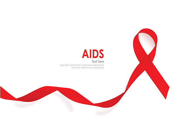 aids awareness red heart ribbon on white background. - aids stock illustrations