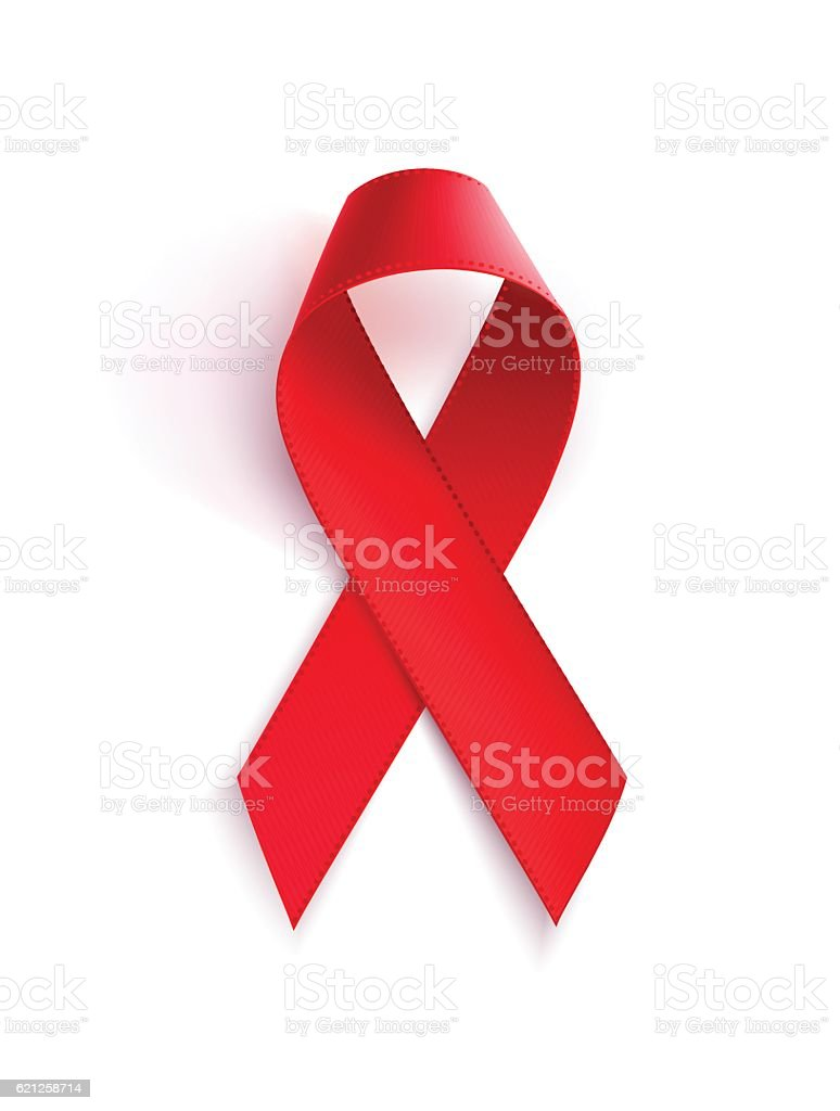 Aids awareness red ribbon. Realistic red ribbon, aids awareness vector art illustration
