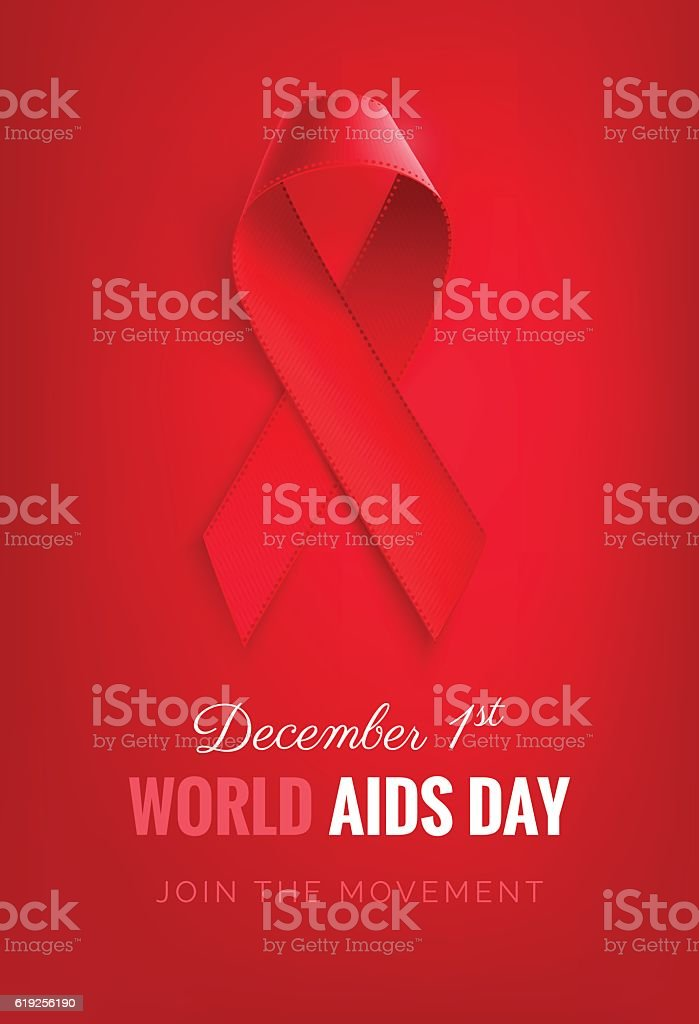 Aids awareness  Ribbon Background. vector art illustration