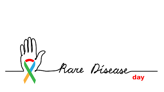 Rare disease day simple vector background. Colorfull ribbon and hand with lettering Rare disease.