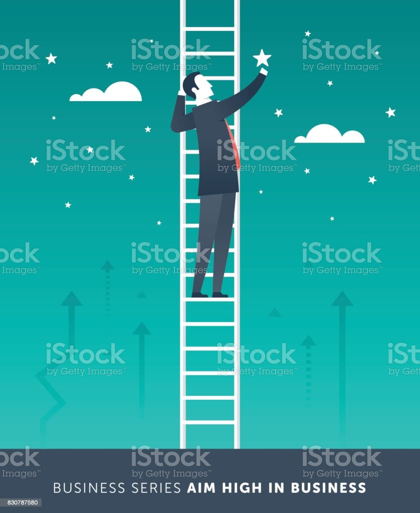 Aim High in Business vector art illustration