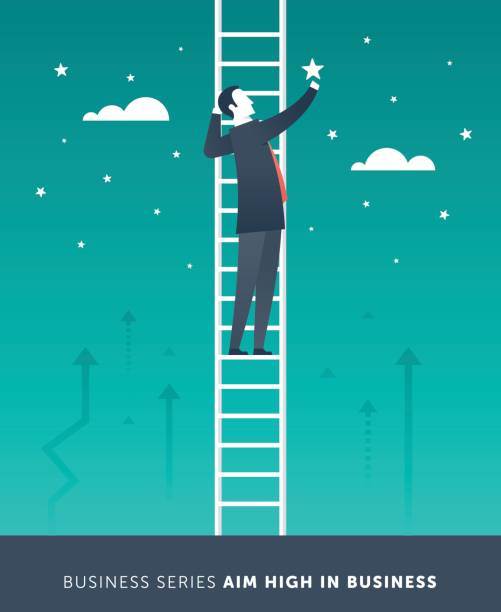 aim high in business - small business owner stock illustrations