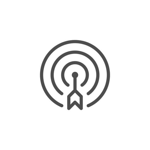 illustrazioni stock, clip art, cartoni animati e icone di tendenza di aim line icon - accuratezza