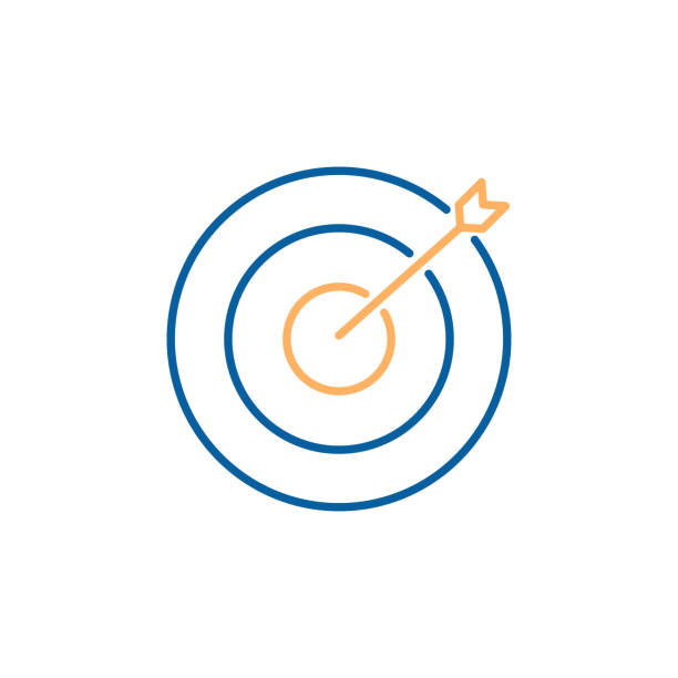 Aim target focus with arrow. Vector trendy thin line icon illustration design. Strategy, success, efficiency, business. vector eps10 bull's eye stock illustrations