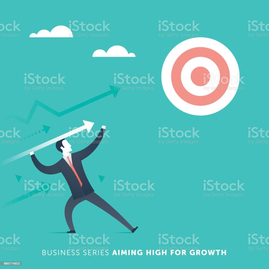 Aiming High For Growth vector art illustration