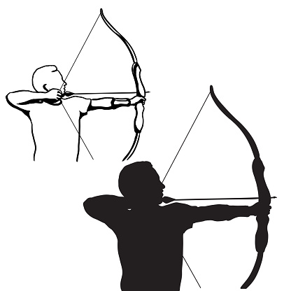 Aiming With Bow And Arrow Silhouette
