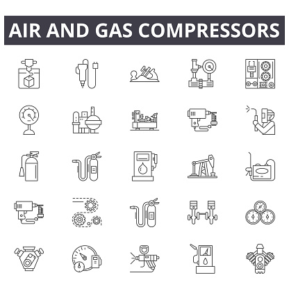 Air and gas compressors line icons, signs set, vector. Air and gas compressors outline concept, illustration: compressor,gas,air,industrial,equipment,power,tool