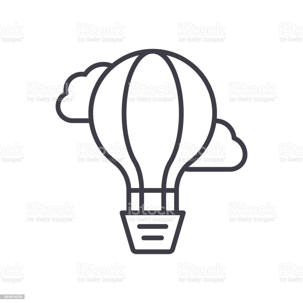 Air ballon navigation black icon concept. Air ballon navigation flat  vector symbol, sign, illustration. royalty-free air ballon navigation black icon concept air ballon navigation flat vector symbol sign illustration stock vector art & more images of advice