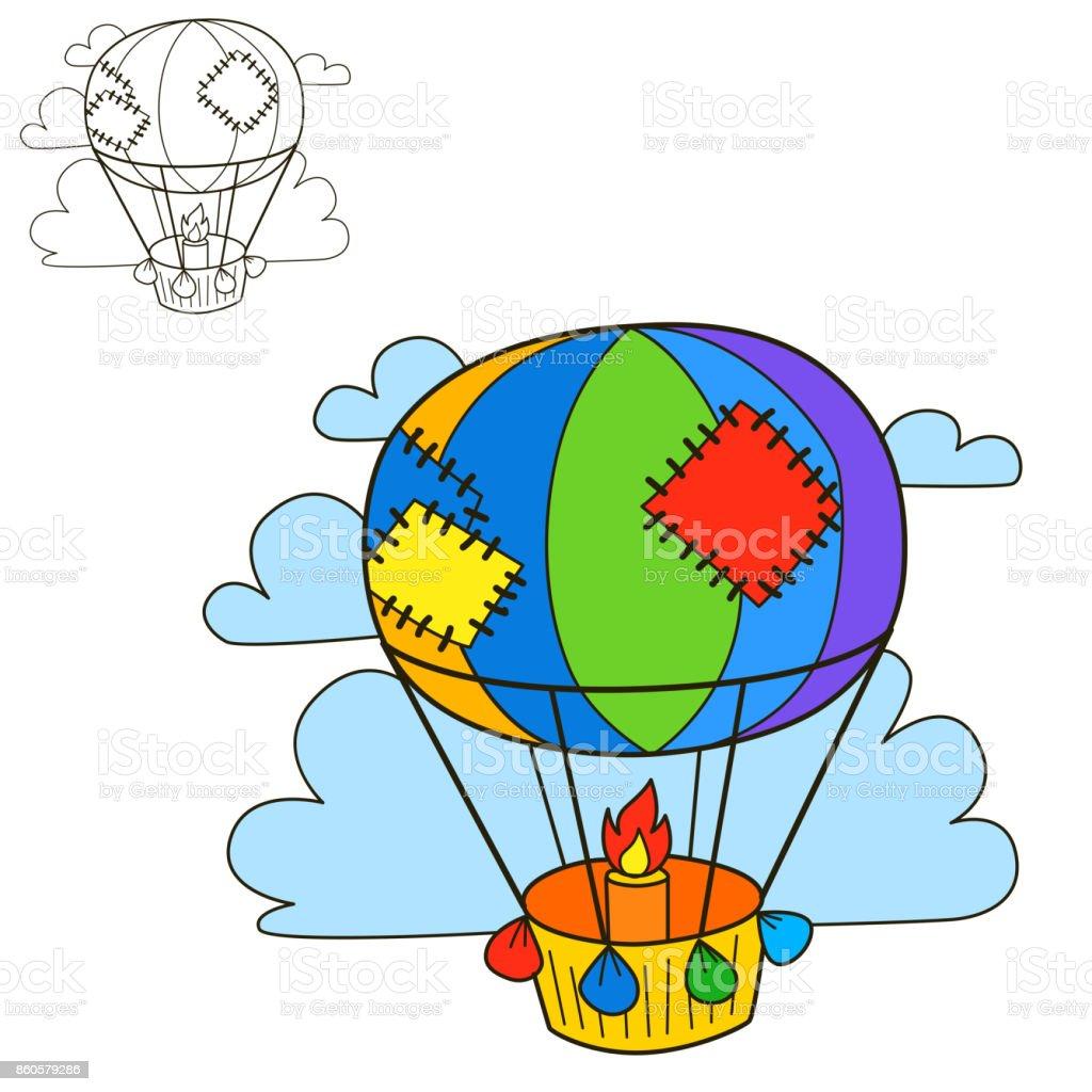 Hava Balonu Boyama Kitabi Sayfasi Stok Vektor Sanati Animasyon