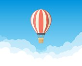 Retro cartoon hot air balloon flying up in the sky. White clouds and blue sky. Travel and transportation banner. Romantic adventure and outdoor activity and discovery.