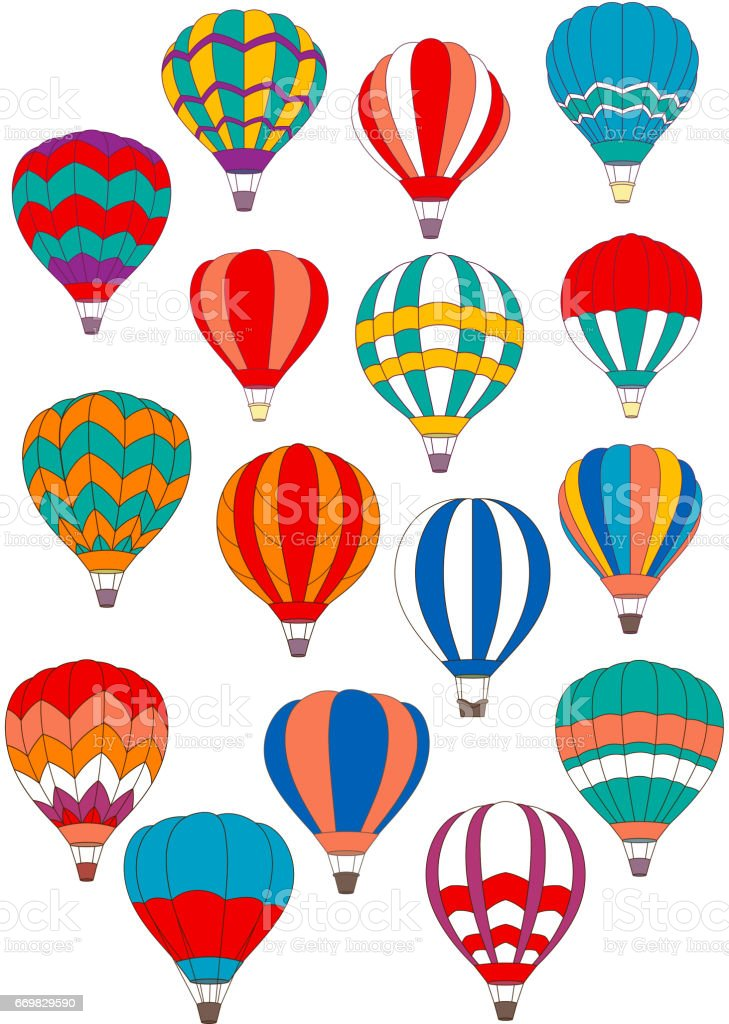 Air balloon vector isolated icons set vector art illustration
