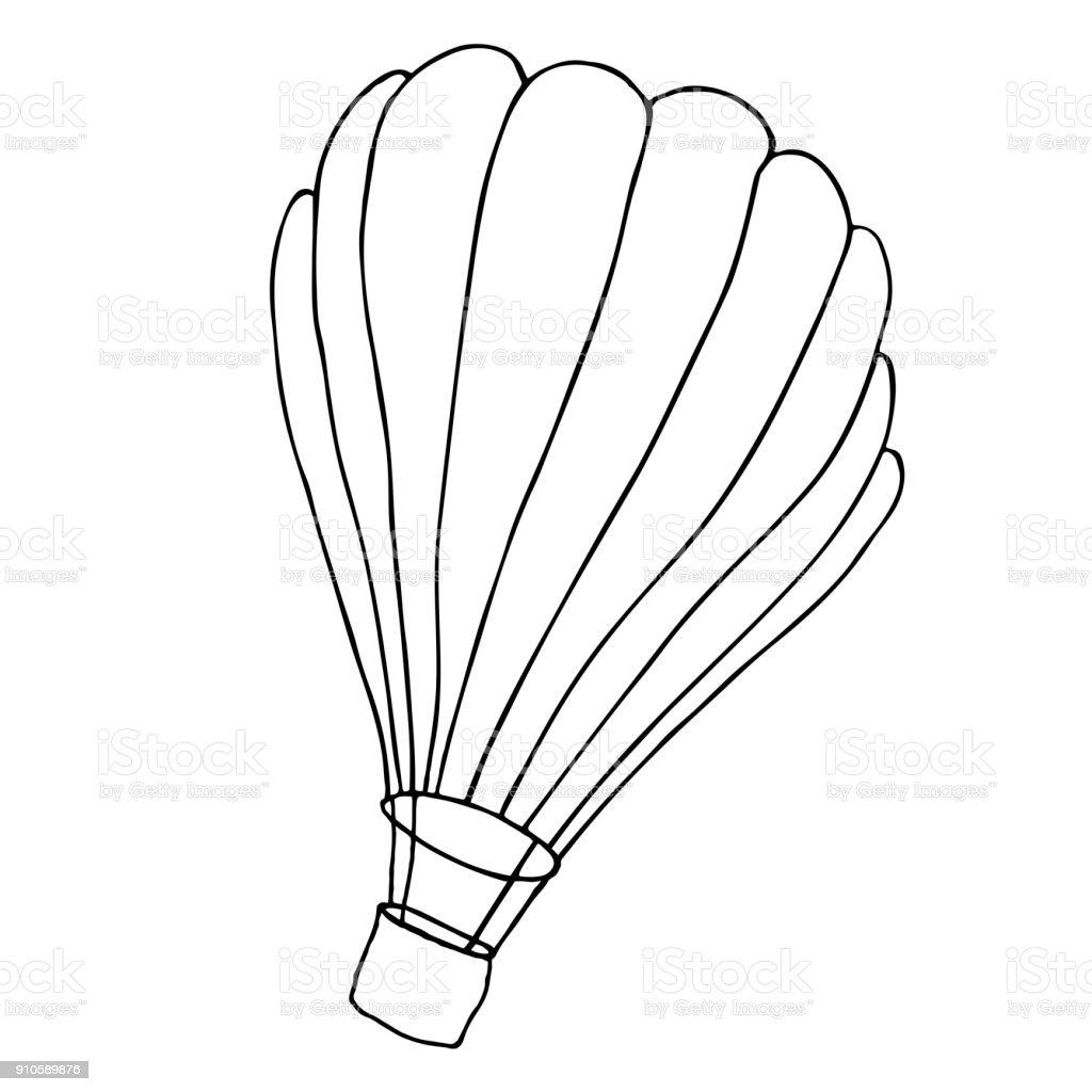 Bir Sepet Ile Hava Balonu Vektor Kroki Cizim Stok Vektor Sanati