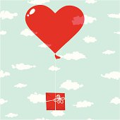 Air balloon with gift in the sky. Seamless cloud background.