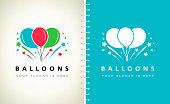 air balloons and fireworks vector