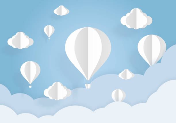 Air balloons in the blue sky with white clouds paper cut. Paper art and origami style. Air balloons in the blue sky with white clouds paper cut. Paper art and origami style. hot air balloon stock illustrations